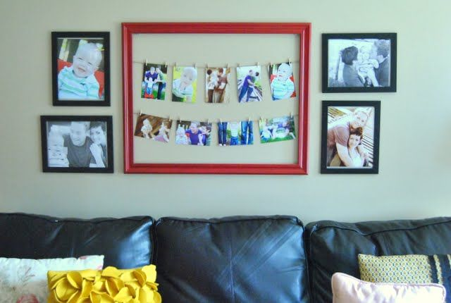 Different way to do a gallery wall  thinking family room behind couch
