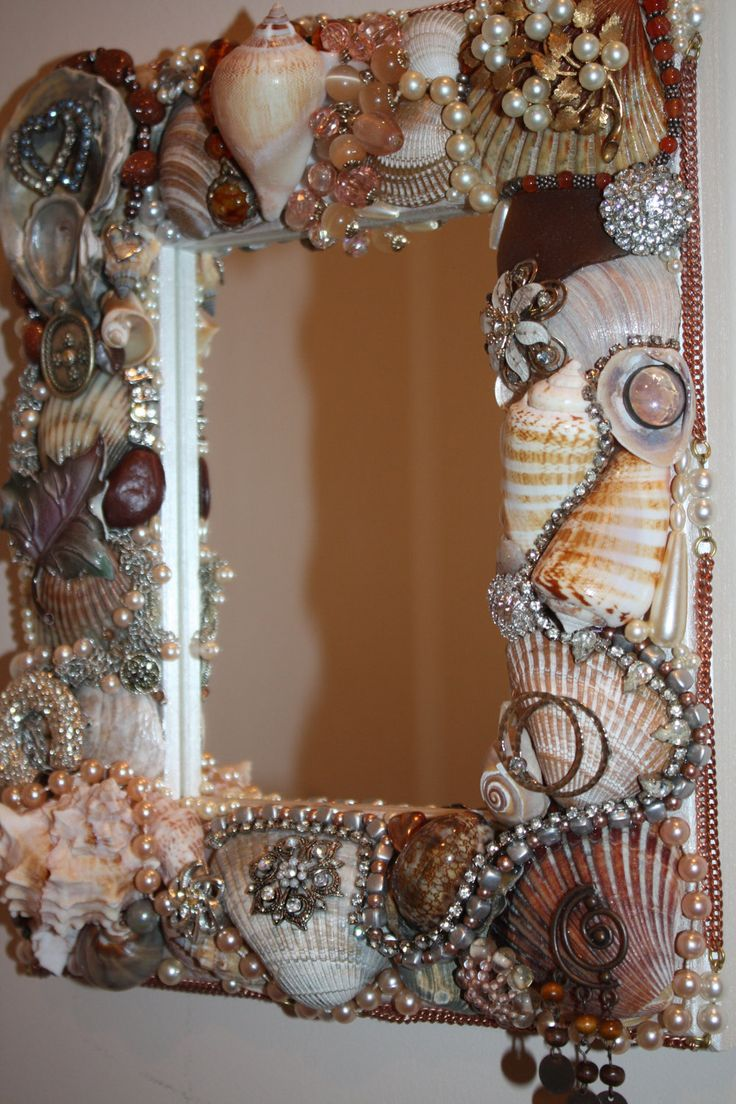 colorful pictures of seashells | Sea Shell Jewelry Mosaic Mirror Ocean Beach by SeaForYourself