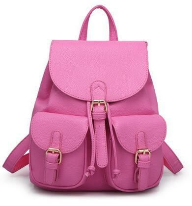 2017 new lady backpack girl schoolbag travel bag solid color candy color green pink beige