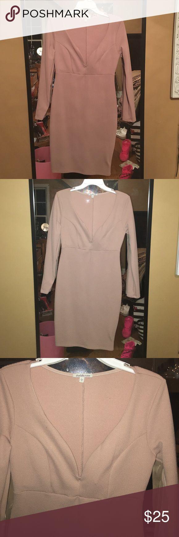 Charlotte Russe dress Tan/nude long sleeve low cut going out party dress. Charlotte Russe Dresses Mini