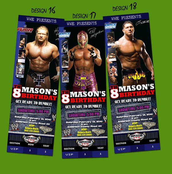 WWE WRESTLING TICKET BIRTHDAY PARTY INVITATION CENA RAW