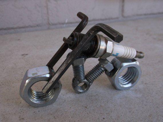 Motorcycle, Spark Plug Motorcycle, Recycled Metal Motorcycle