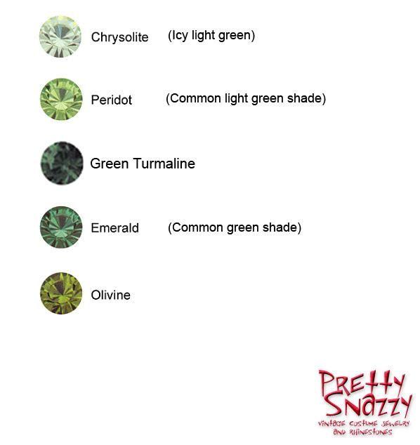 Swarovski Green Shades - Chrysolite, Peridot, Green Turmaline, Emerald and Olivine