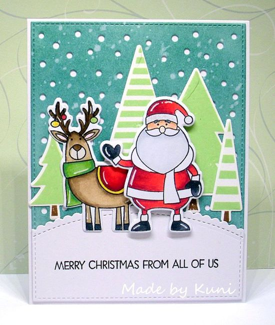 Merry Everything and Oh Christmas Trees stamp sets and Die-namics and Snowfall - Vertical Die-namics - Annett Näther #mftstamps