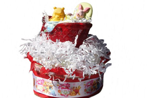 Pooh Christmas Diaper Cake - Piglet, Too - Sleigh Ride - Christmas Diaper Cake - December Baby - December Baby Shower - Gender Neutral