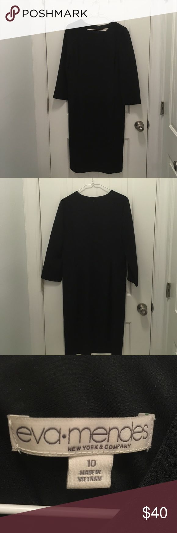 Eva Mendes Jessica Black Dress New York & Company Black Jessica dress. Eva Mendes collection. Size 10. Three quarter length sleeves, slit in the back. Worn once and cleaned. 100% polyester. Comes from a non-smoking home, but pet friendly. New York & Company Dresses