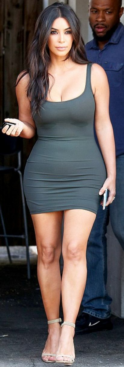 Who made Kim Kardashian's tank top gray dress, tan suede sandals, and Iphone case?