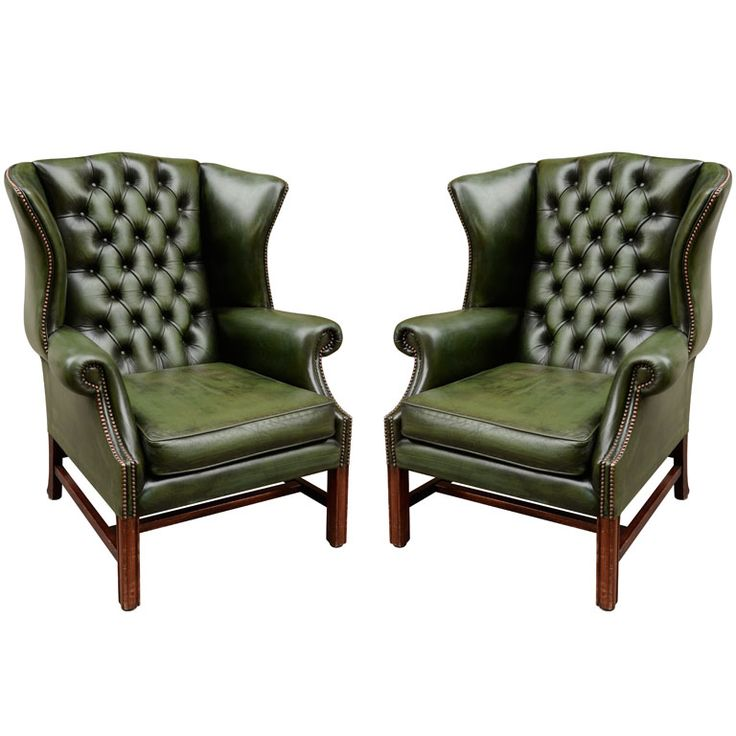 Pair of English Green Leather Wingback Chairs. two words...GREEN. LEATHER.