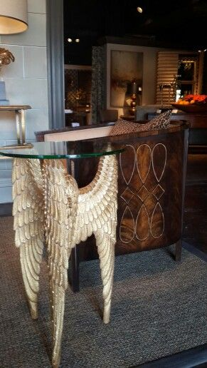 Handcarved Winged Side Table With An Inlaid Brown Mahognay Tub Chair Come  Enjoy At Jonathan Charles Fine Furniture