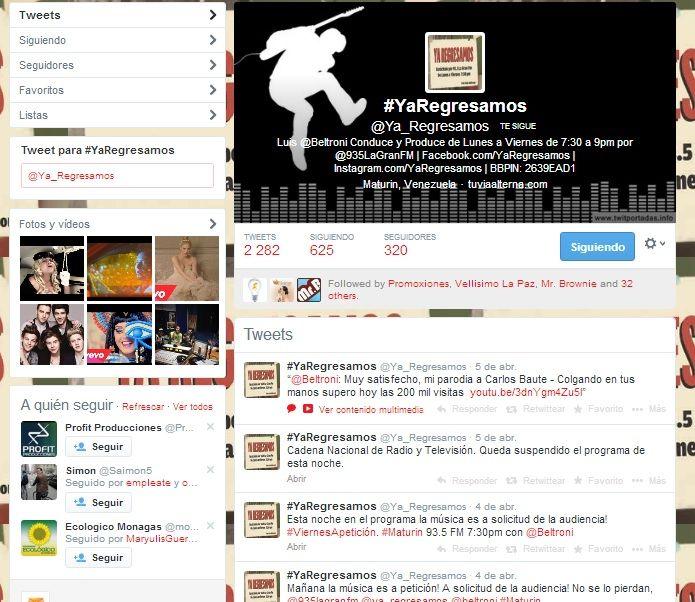 Redes sociales por 1 mes del programa radial @Ya_Regresamos 2013