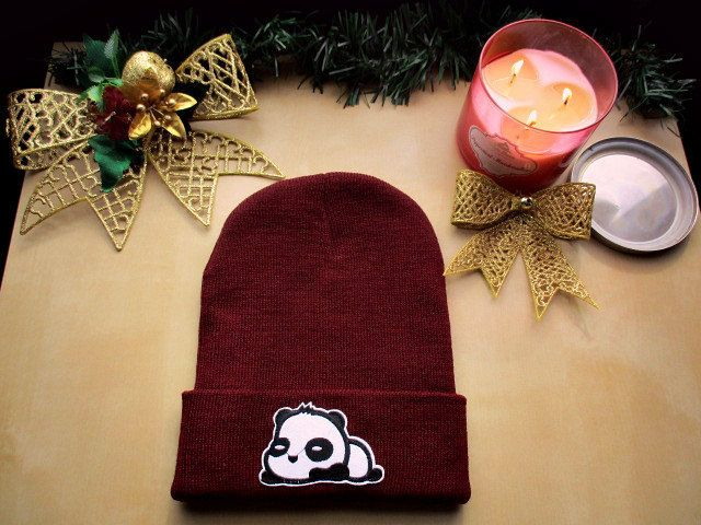 CUTE PANDA Cuffed Unisex Knit Beanie Winter Hat ( Burgundy/Black/White ) by PositiveMentality on Etsy