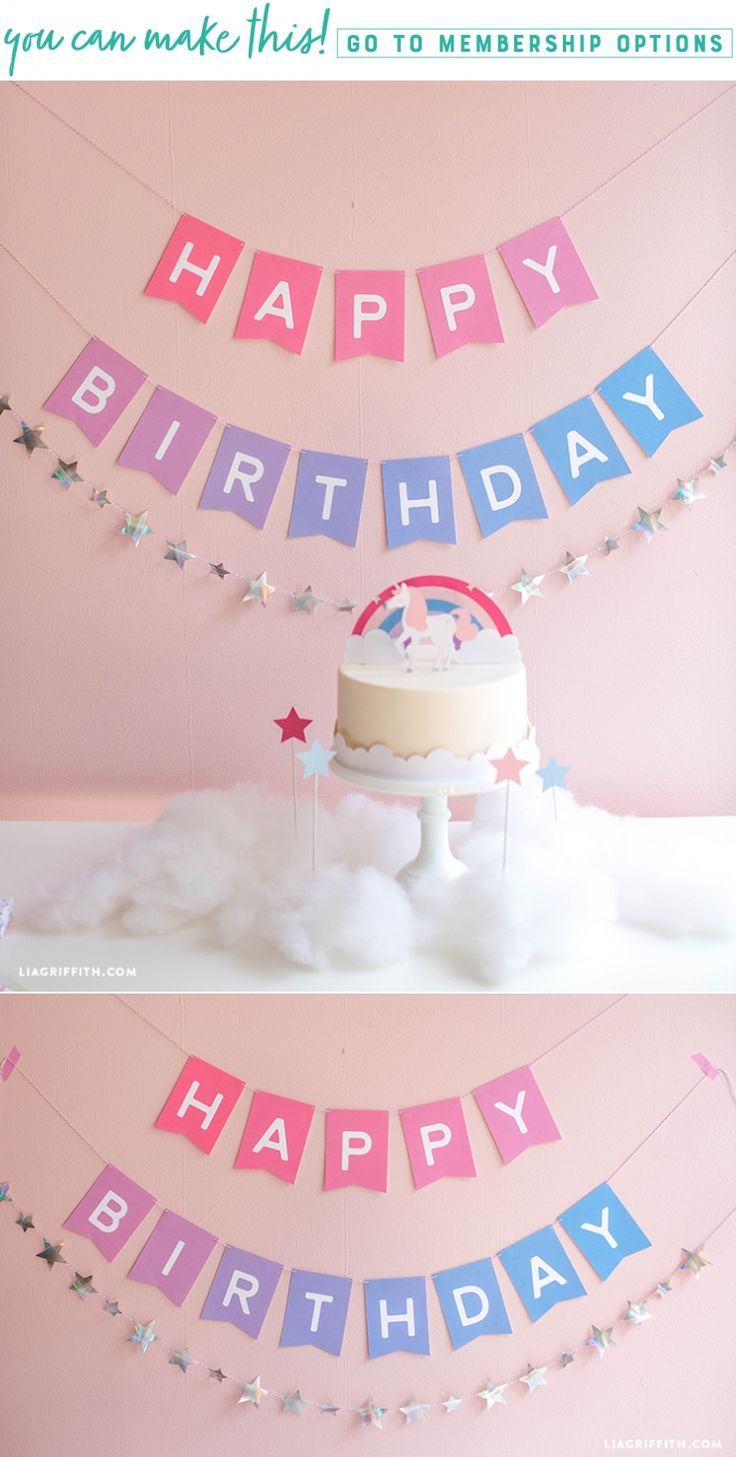 Paint the Party Pink ✨ This ombre printable birthday banner reminds us of cotton candy skies. It's a fantastic way to add some fantasy to your next birthday celebration.  https://liagriffith.com/ombre-printable-birthday-banner/ * * * #happybirthday #happybirthdaytoyou #diyparty #diy #diyidea #diyideas #diycraft #diycrafts #diyproject #diyprojects #diykids #kidscraft #kidscrafts #unicorn #unicorns #unicornio #birthdayparty #birthdaypartyideas #pink #magic #kidsparty #kidspartydecor…