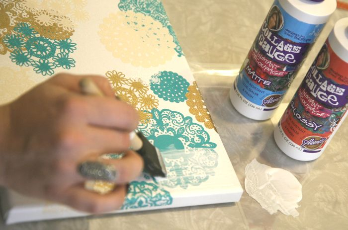 """It's really easy to make, and you only need a few supplies;  Doilies Rub-ons  Blank Canvas (mine is 8"""" x 10"""")  Decoupage"""
