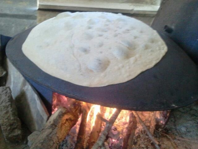 Mountain bread (Mar-ouh) made on the Saj