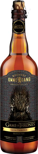 Game of Thrones: Iron Throne Blonde Ale by Brewery Ommegang. (Also available in Take the Black Stout & Fire and Blood Red Ale.)