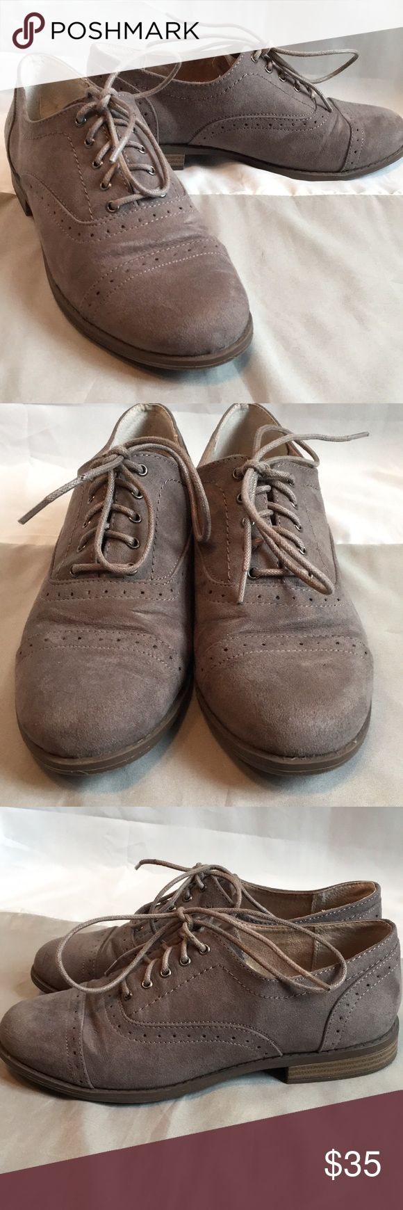 White Mountain Taupe Faux Suede Oxfords Soft taupe faux suede White Mountain oxfords. Fits like a US 6. Very minimal wear. White Mountain Shoes Flats & Loafers