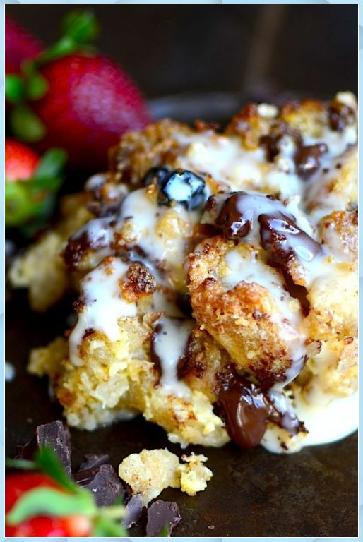 Sourdough bread pudding with chocolate chips and vanil – Chocolate Bread Pudding #best chocolate bread pudding #bobby fl…