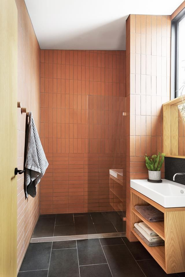 Terracotta bathroom from a contemporary renovation of an old worker's cottage in Melbourne.  Photography: Martina Gemmola | Styling: Ruth Welsby | Story: Australian House & Garden