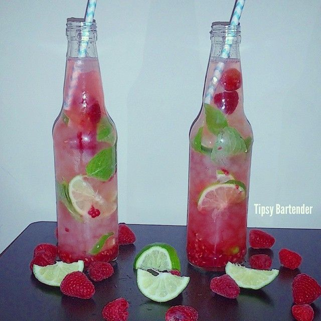 RASPBERRY MOJITO,  Fresh Muddled Raspberries, 1 oz. (30ml) Fresh Lime Juice, 2 tsp. Sugar, 8 Mint Leaves, 2 oz. (60ml) White Rum, 2 oz. (60ml) Sprite  *** From Tipsy Bartender