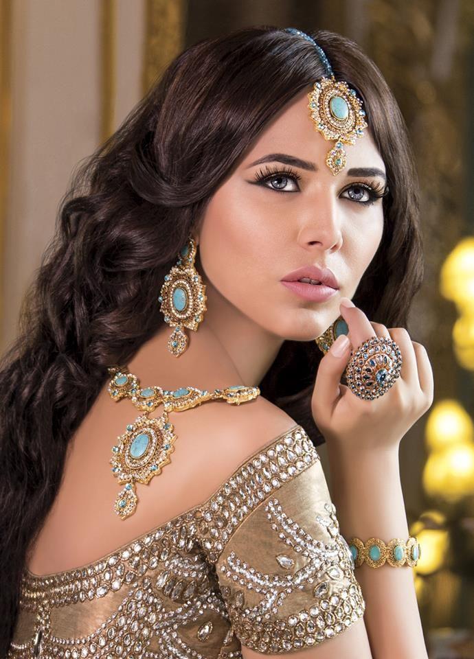 MU by:Kaniz Ali Jewels byJewels N Gems Brown long wavy hair, wedding bridal jewellery baby blue and gold
