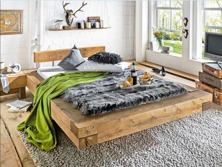 Кровати 160x200 Günstig с уникальным характером и материал из ...  Wohnzimmer DesignsRustikalSchlafzimmerProjekteDiy BettHolzarbeiten