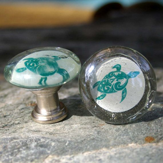 Clear Glass Knobs with Turtle - Ocean, Glass Knob, Beach, Turtle, Sea Life on Etsy, $10.00