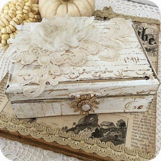 This would make a beautiful gift for a friend. Just shabby-chic a box, add some victorian lace and button accents and you're good to go!