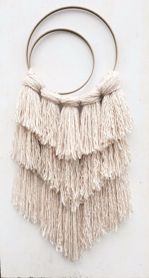 Desert Rose Dreamcatcher ' Shaggy Yarn Wall by FoundandFeathers
