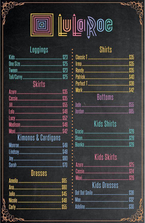 lularoe pricing sheet