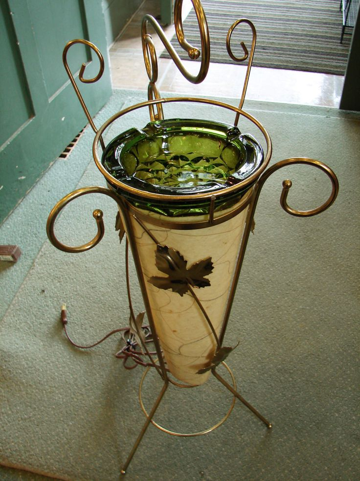 Vintage 1950 S Mid Century Floor Ashtray Lamp Fiberglass Cone Shade In Gold Tone Metal Leaf