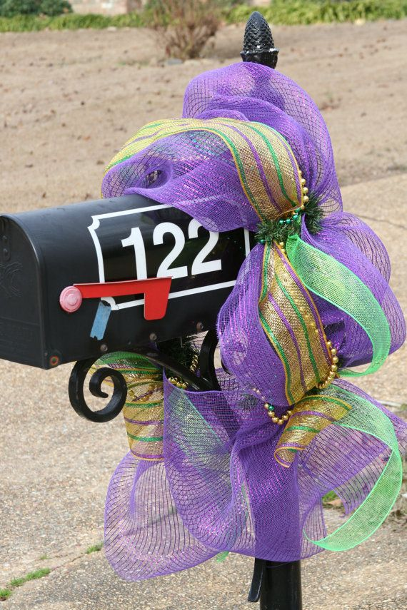 mardi gras & need to get Jeremy to cut vinyl for our mailbox like that!