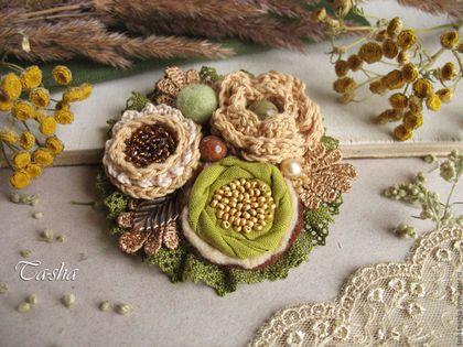 """Fabric brooch / Броши ручной работы. Ярмарка Мастеров - ручная работа. Купить """"Лесной орех"""" брошь. Handmade. Брошь, брошь горчичный цвет"""