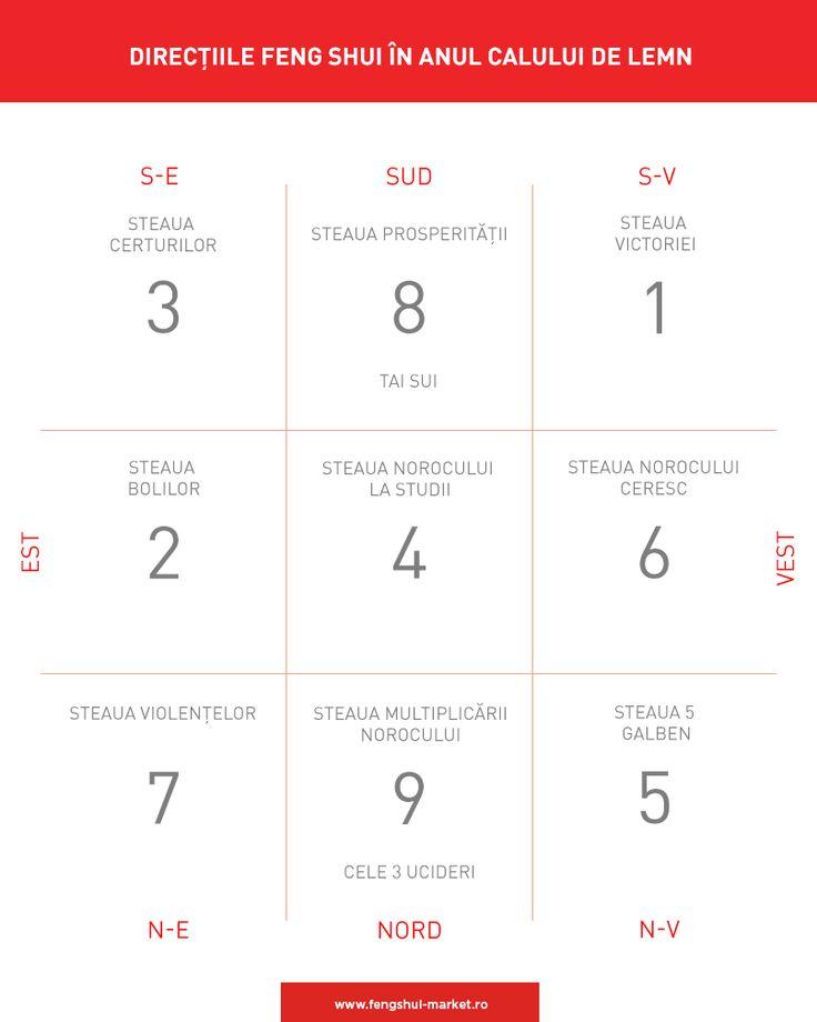 În fiecare an semnificația fiecărui punct cardinal se schimbă, în funcție de poziția stelelor zburătoare. Începând din 4 februarie 2014, direcțiile Feng Shui în casa ta sunt cele afișate în tabelul de mai jos. Rearanjează-ți obiectele Feng Shui în funcție de aceasta pentru a te proteja de influențele nefaste și a activa sectoarele benefice.  În perioada următoare vom lua fiecare direcție în parte și îți vom oferi sfaturi despre ce trebuie să faci pentru fiecare sector.