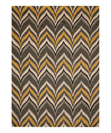 Another great find on #zulily! Yellow Flowing Chevron Rug #zulilyfinds