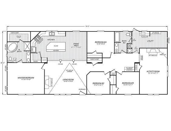 Fleetwood Homes 4 Bedrooms and Bonus Room Floor Plan