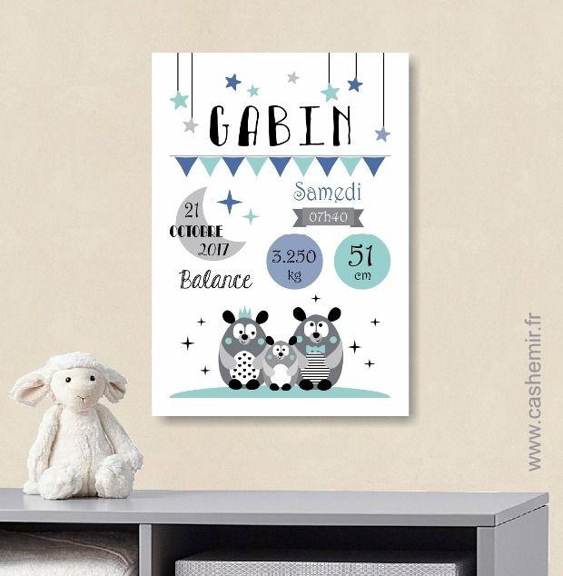 Affiche naissance bébé, cadeau de naissance garçon personnalisé, tableau chambre bébé enfant, animaux - Fichier Imprimable - n°29 : Chambre d'enfant, de bébé par cashemir