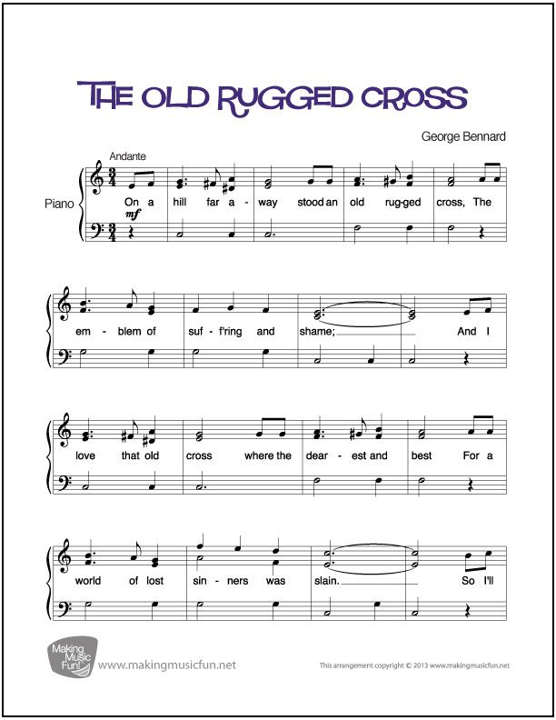 The Old Rugged Cross | Sheet Music for Piano (Digital Print) - http: