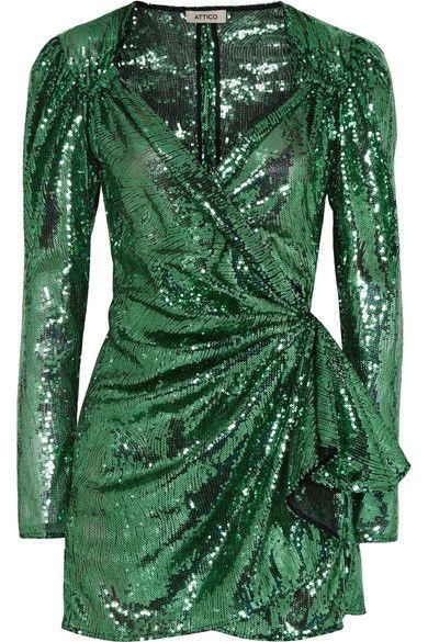 9d819887 Attico   Sequined mesh wrap mini dress   #minidress #mididress #holographic  #ss19 #dresses #attico