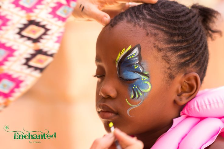 Half butterfly face painting design