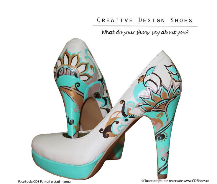 Abstract Fields - pantofi pictați manual
