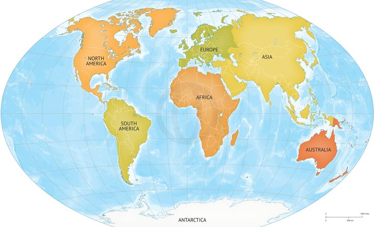 Map of World continents bathymetry – Map World High Resolution