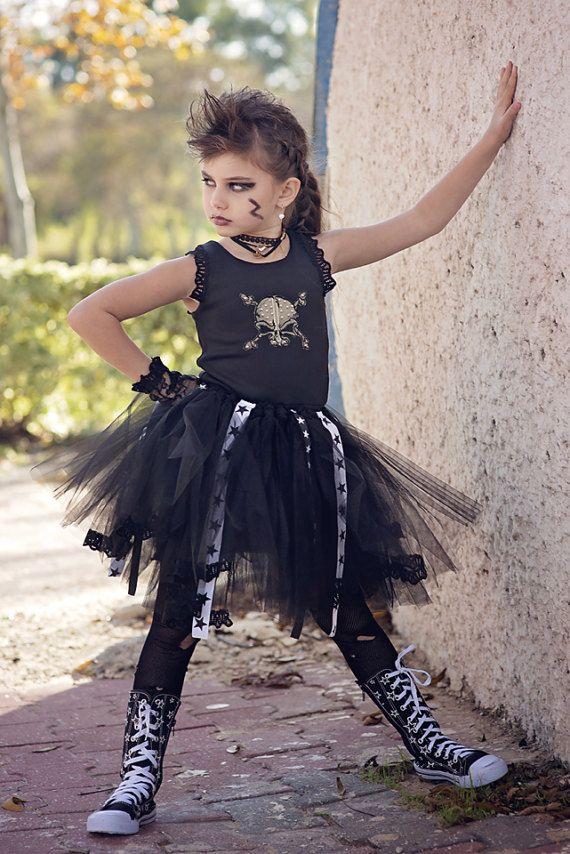 Rock Star Tutu Dress HALLOWEEN Punk Rock Princess Glam by Bubale1