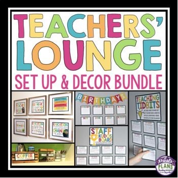 TEACHERS' LOUNGE / STAFFROOM SET UP AND DECOR BUNDLE: Bring some positivity to your teachers' lounge with this bundle of posters, interactive bulletin boards, celebration displays, coffee station set-up and teacher gifts! Use these resources to make your