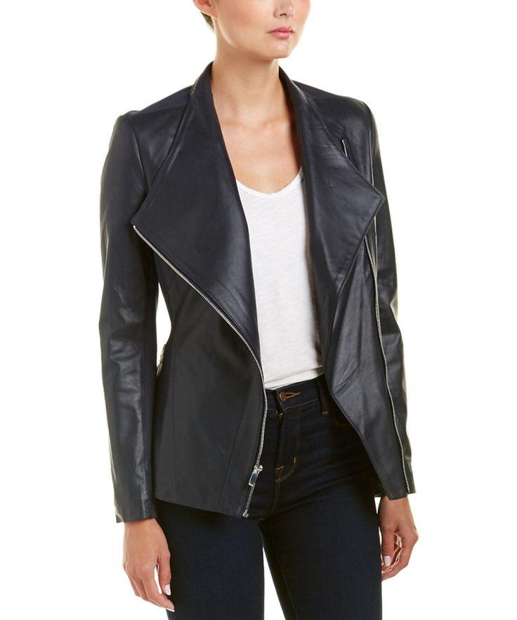 Via Spiga Via Spiga Leather Peplum Jacket
