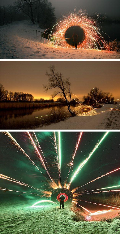 light painting usando fogos de artifício, luzes e fogo