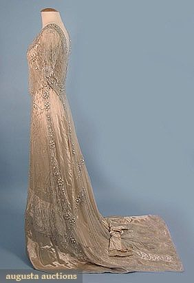 CRYSTAL BEADED TRAINED EVENING GOWN, c. 1909Beads White, Beads Training, Crystals Beads, Silk Satin, Dresses Ideas, Evening Gowns, Cream Gowns, Cream Silk, Baroque Pearls