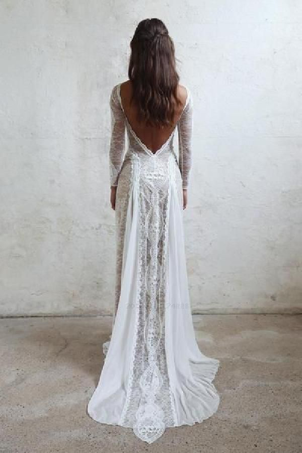 Lace Bohemian Wedding Dresses French Lace Long Sleeve Boho Chic Dress Open Back …