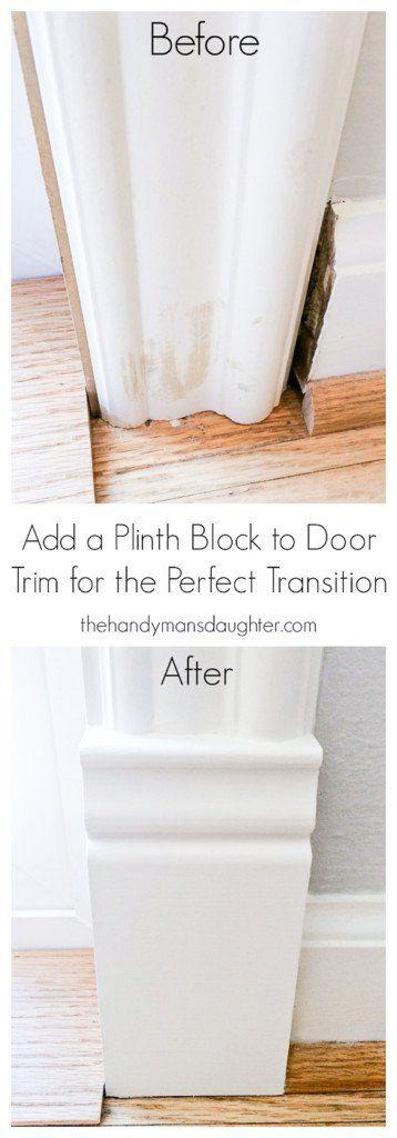 Fix awkward transitions between baseboards and door trim with a plinth block! | Door moulding | Door Trim | Architectural Details