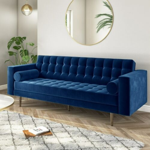 Buttoned Navy Blue Velvet Sofa - 3 Seater With Cushions - Elba SOF043 | EBay | Navy Blue Velvet Sofa, Blue Velvet Sofa, Blue Sofa