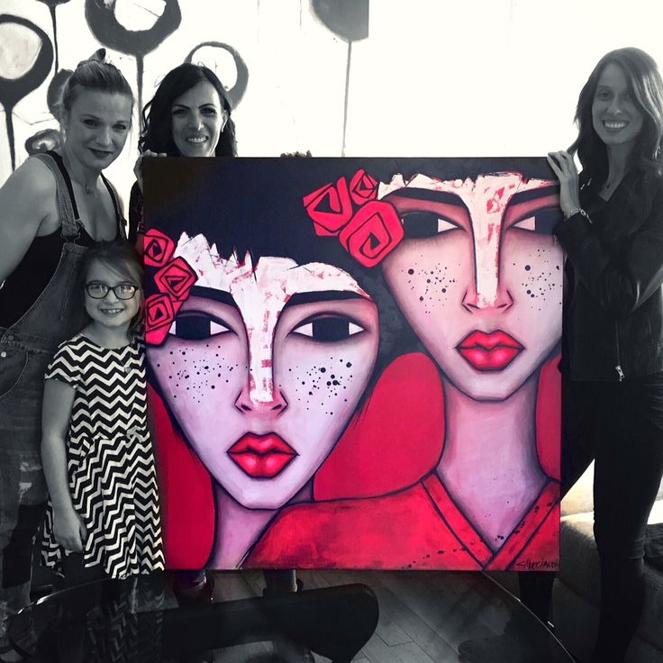My painting LES DEMOISELLES with their new owner Giovanna Aprile. www.sandramucciardi.com